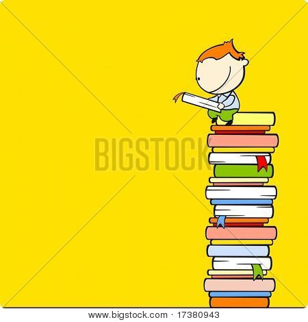 Boy reading a book at a top of a book heap