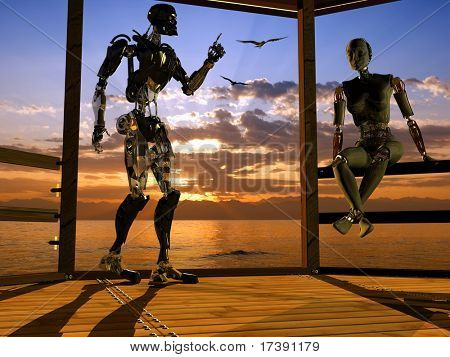 Silhouettes of two cyborgs in a landscape