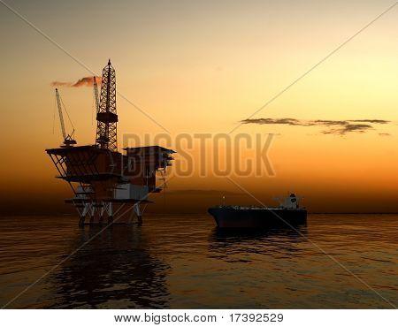 Producción de petróleo en el mar