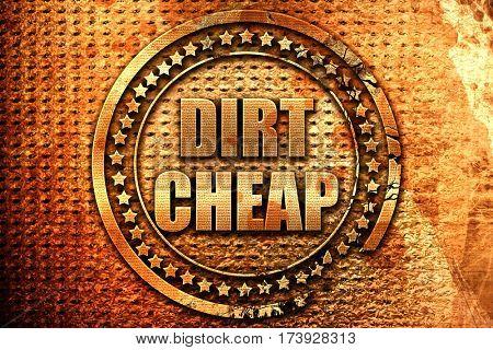 dirt cheap, 3D rendering, metal text