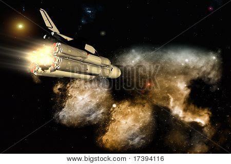 The space ship on a background of a planet