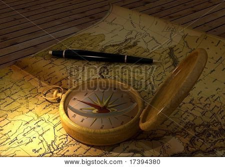 A compass and a map on the table