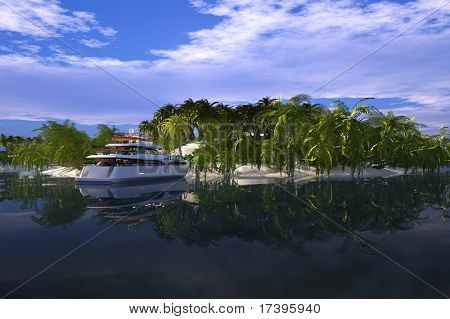 Modern yacht around the tropical island.