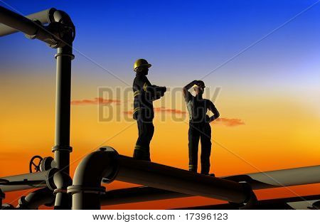 Oil workers on a background of the sky