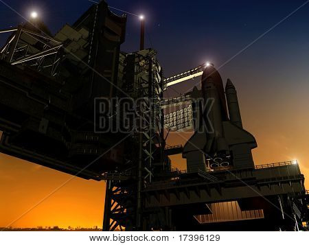 Baikonur with the spacecraft against the sky