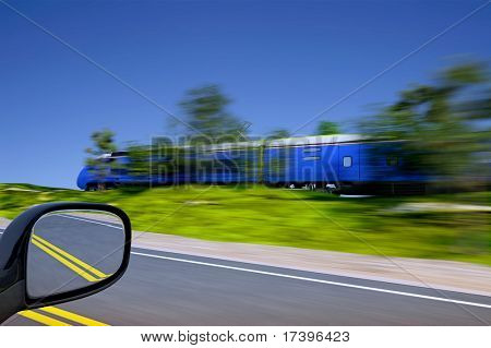 The train sped by rail