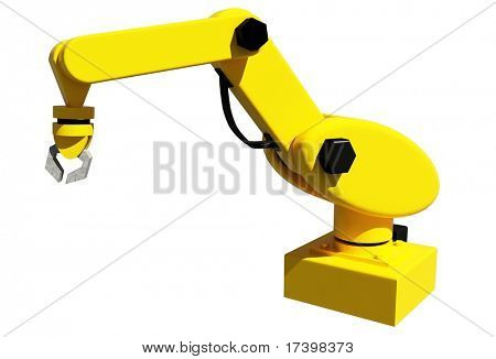Yellow robotic arm for industry isolated on white