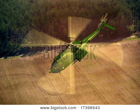 Civilian helicopter on a background an  landscape