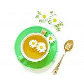 Постер, плакат: Chamomile Tea In Cup Isolated On White Background