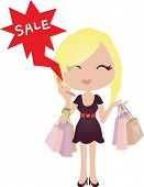 image of blonde woman  - Happy Shopping with Attractive Girls - JPG