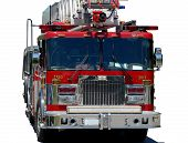 image of fire truck  - emergency response vehicle or firetruck on white background - JPG