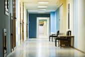 picture of medical office  - reception in hospital with corridor at night - JPG