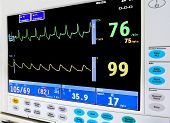 image of intensive care  - intensive care unit cardiac monitor - JPG