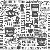 Typographic Vector Coffee Shop Seamless Pattern Or Background poster