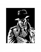 Detective In Trench Coat - Retro Clip Art
