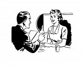 Couple Seated At A Booth - Retro Clip Art
