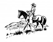 The Great Outdoors - Cowboy On Horseback - Retro Clip Art
