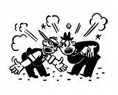Two Men Arguing - Retro Clipart Illustration