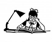 Girl Studying At Desk - Retro Clipart Illustration