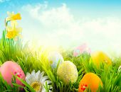 Easter nature spring scene background. Beautiful colorful eggs in spring grass meadow over blue sky  poster