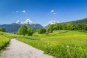 Idyllic Summer Landscape In The Alps, Nationalpark Berchtesgadener Land, Bavaria, Germany poster