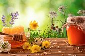 Honey Pot And Honeycomb With Green Nature Background With Flowers poster