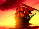 stock photo of pirate ship  - The ancient ship in the sea - JPG