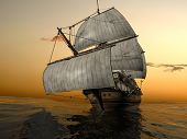 pic of galleon  - The ancient ship in the sea - JPG