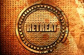 retreat, 3D rendering, metal text poster