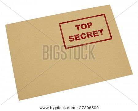 "Mail envelope with a stamp"" top secret"",Isolated on white with clipping paths."