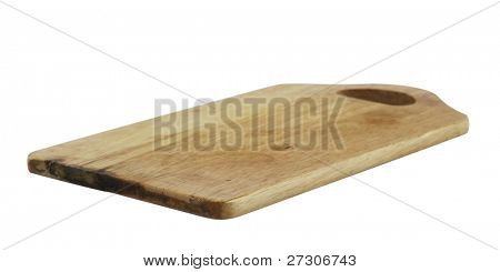 old chopping board,isolated on white with clipping path