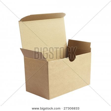 open corrugated cardboard box,isolated on white with clipping path