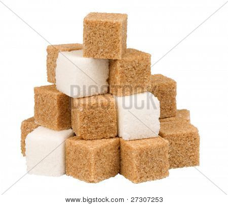 brown and white sugar cubes,isolated on white with clipping path.
