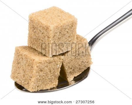 cubeÃ?Â? of brown sugar on spoon, isolated on white with clipping path