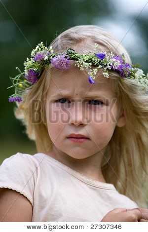 Blonde Girl In Flower Wreath