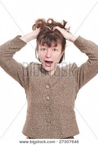Portrait of screaming woman on white