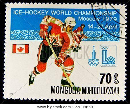 Mongolei um 1979: eine Briefmarke gedruckt in der Mongolei Eishockey WM in Moskau, anzeigen