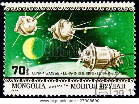MONGOLIA - CIRCA 1979: A stamp printed in Mongolia shows spaceship Luna-1, circa 1979 Series