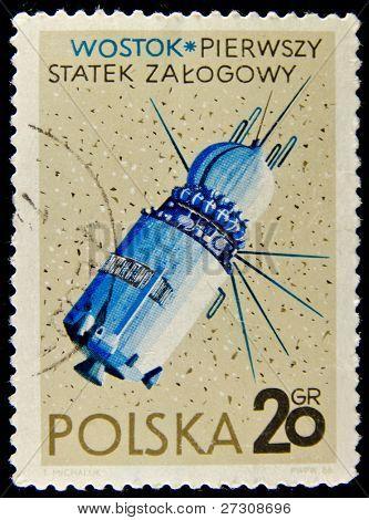 POLAND - CIRCA 1966: A stamp printed in Poland shows first Russian spaceship Vostok, circa 1966