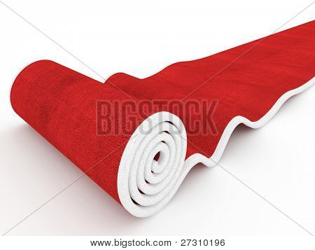 3d image of classic red carpet