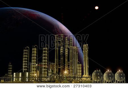 Chemical plant at night with lights.