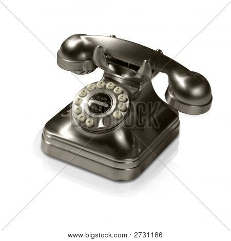Old Metal Telephone (With Clipping Path And Reflection)