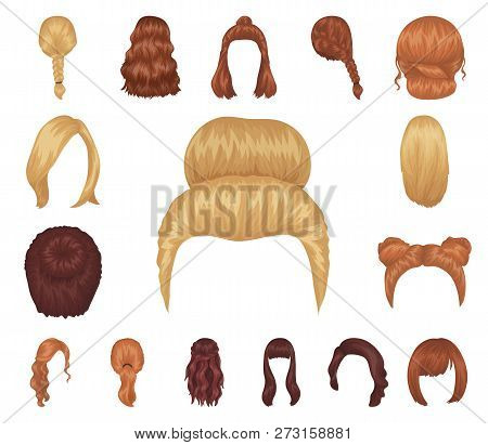 Female Hairstyle Cartoon Icons In