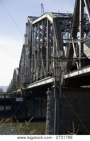 Railroad Bridge Across The Willamette River