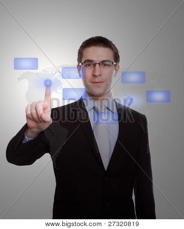 Portrait of young business man pressing modern buttons on a virtual background