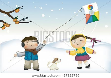 Happy Little Children on the Rural Snowfield