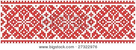 red color embroidered good like handmade cross-stitch ethnic Ukraine pattern. Raster version over 20MPx