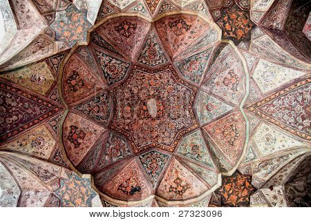 Beautiful decorated Dome of  Hasht Behesht Palace  , Esfahan, Isfahan, Iran
