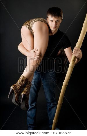 cute  caveman with a club and a girl