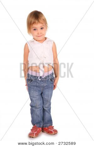 Little Beautiful Girl Isolated On White